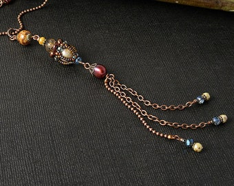 Victorian Beadwoven long pendant