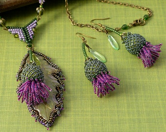 Scottish Thistle leaf and flowers beadwoven necklace & earrings set