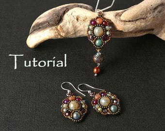 "Tutorial for beadwoven jewelry set pendant and earrings ""Autumn is coming"""