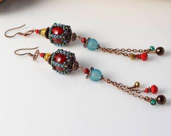 super cute long beadwoven earrings