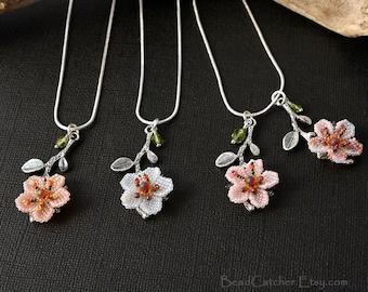 Cherry blossoms spring flowers beadwoven pendant