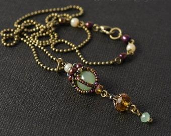 Victorian Jade Beadwoven Pendant