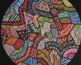 "Dot Pointillism Abstract Acrylic 12"" round on black canvas board, dot art, dot original"