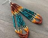 Native American beaded earrings - brown and green earrings - beadwork earrings - seed beaded earrings