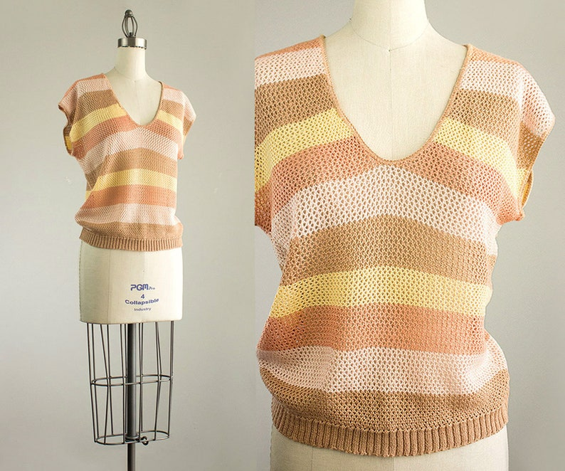 Cherie Vintage // 80s Vintage Peach Ecru Tan Striped Pointelle image 0