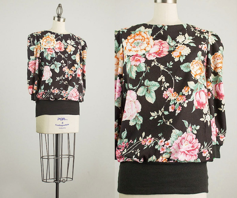 90s Vintage Black Floral Print Slouchy Puff Sleeve Tunic image 0