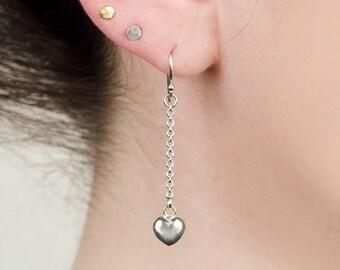 tiny heart earrings - silver