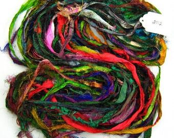 Multi color Silk Sari ribbon soft soak bath treatment