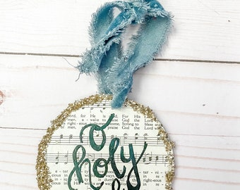 Oh holy night retro hymnal merry Christmas ornament with vintage velvet ribbon