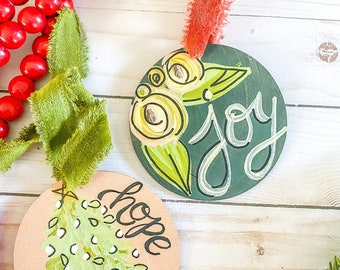 Joy and hope boho Christmas ornament set | painted wooden sign
