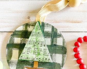 CHRISTMAS TREE HYMNAL ornament | farmhouse beads