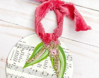 Holly painting retro hymnal merry Christmas ornament with vintage velvet ribbon