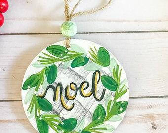 NOEL TREE HYMNAL ornament | farmhouse beads