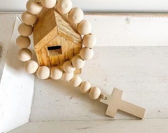 Wooden cross farmhouse beads in cream  / door hanging / coffee table display / shelf styling