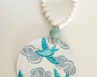 Cloudy day birds / circle wall hanging / door hanging / coastal fall SALE