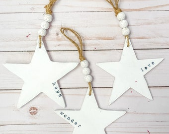 Wooden star Christmas ornaments with farmhouse beads