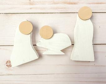 Minimalist wooden nativity neutral Christmas decor