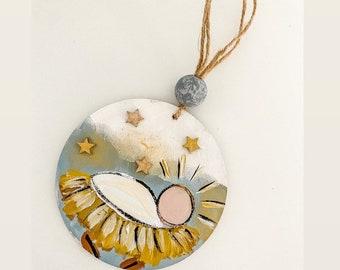 Baby Jesus Christmas ornament / vintage church  / farmhouse beads SALE