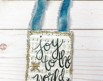 Joy to the world  retro hymnal merry Christmas ornament with vintage velvet ribbon