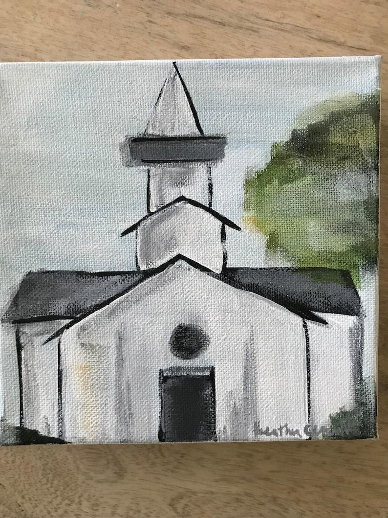 Roadside chapel  church  Original Acrylic on canvas  image 0