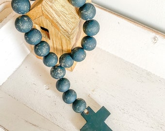 Wooden cross farmhouse beads in iron ore  / door hanging / coffee table display / shelf styling