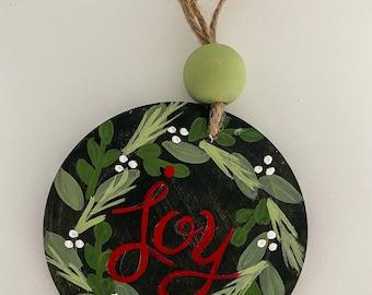 Joy wreath Christmas ornament / farmhouse beads SALE