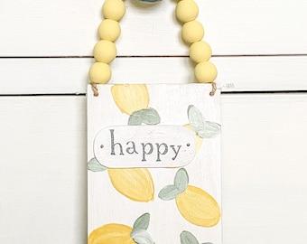 Lemons wood sign /  Wooden sign / handpainted / door decor
