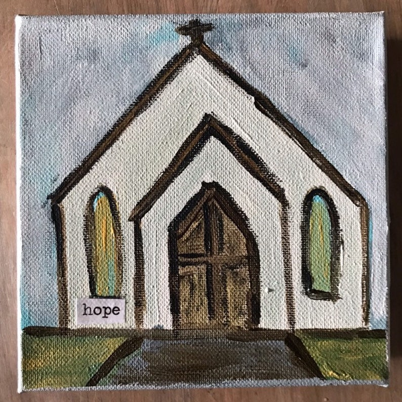 country steeple two abstract church painting image 0