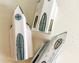 Church shelf sitter / wooden sign / church building / tiered tray decor