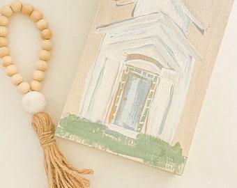 Church painting / tiered tray set / neutral decor / farmhouse decorating