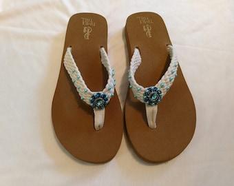 07deb248f41b Teal Blue Beaded Flip Flops
