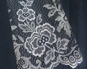 Antique Silver Metallic Lace Applique Trim Floral Sample Piece