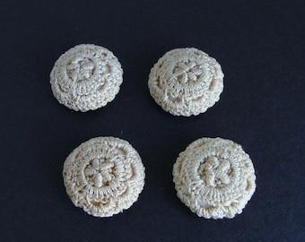 Set of 4 Antique Fabric Crochet Lace Buttons