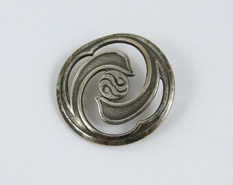 Antique Open Work Silver Metal Art Nouveau Button
