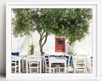Greece Print, Travel Photography, Greek Taverna, Olive Tree, Kitchen Wall Art, Dining Room Art - Cafe Under an Olive Tree