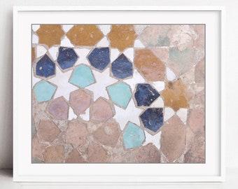 Geometry Wall Art Print, Moroccan Tiles Print, Zellige Tiles, Morocco Wall Art, Living Room Art, Tiles Fine Art Print // Fez Tiles Three