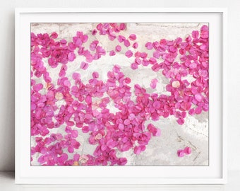 Greece Print, Bougainvillea Flower Petals, Travel Photography, Pink White, Abstract Wall Art, Flower Photography - Bounty of Flowers