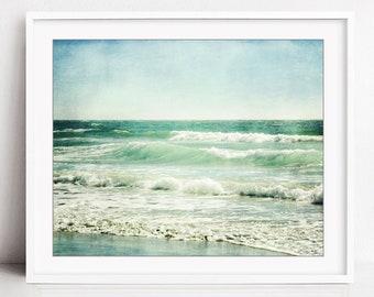 Beach Photography, Ocean Waves Print, Aqua Blue Wall Art, California Coastal Wall Art, Nature Photography, Beach Decor - Wave Rhythm