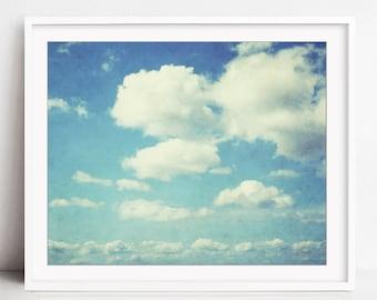 Cloud Photography Print, Pale Blue Wall Art, Nature Photography, Cloud Wall Art, Sky Print, Baby Room Wall Art, Cloud Print, Cloudbursting