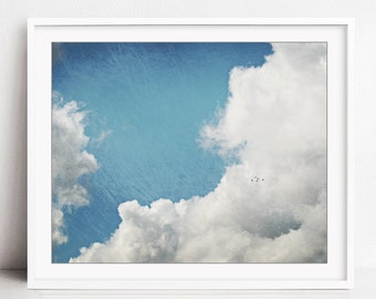 Cloud Photography, Blue Sky Wall Art, Nature Photography, Weather, Blue White Wall Art, Flying Birds, Nursery Room Art, Birds in a Big Sky