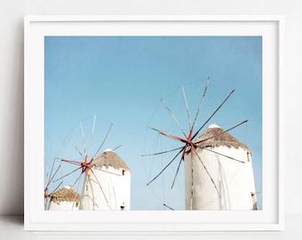 Greece Photography, Windmill Print, Travel Photography, Greece Wall Art, Architecture Art, Blue White Wall Art - Windmills Three