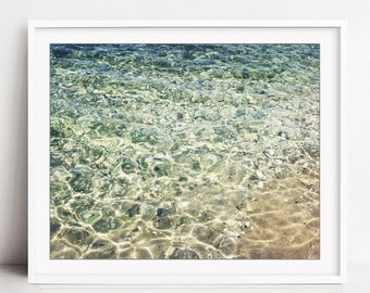 Ocean Water Photography Print, Beach Decor, Greece Photography, Beach Print, Bathroom Wall Art, Pale Aqua Beige Wall Art, Crystal Shore