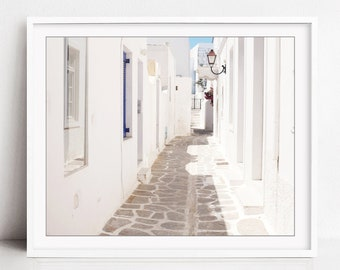 Greece Photography Print - Whitewashed Street, Greece Photo, White Wall Art, Architecture Travel Photography Print - Alley Silhouette