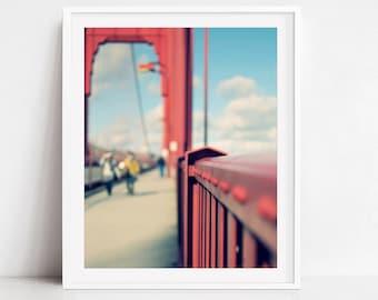 San Francisco Print, Travel Photography, Golden Gate Bridge, California, Bridge Wall Art Print, Red Architecture Art - Different Perspective