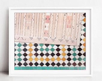 Morocco Wall Art, Travel Photography Print, Moroccan Rug, Tiles Wall Art, Abstract Geometric print - Pink Rug and Tiles