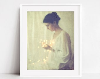 Dreamy Ethereal Portrait Fine Art Photography Print Vintage Style Print 'This Little Light of Mine'