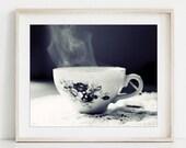 Tea Cup Print, Black and ...