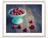 Raspberries print, food p...