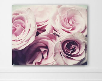"""Canvas Wall Art - Pink Rose Photography Wall Art - Floral Bedroom Wall Decor - Cottage Chic Pink Wall Art - Canvas Wrap """"Pastel Roses"""""""