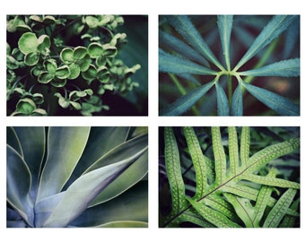 Print set of four - nature photography - forest green wall art - leaves print - botanical prints - woodland art - photo set of 4